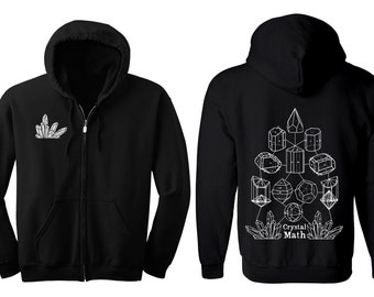 CRYSTAL MATH Hoodie Men's and Women's Geometric Crystal Black Hooded Sweatshirt Quartz