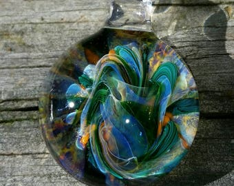 Handmade Lampwork Boro Glass Pendant Bead Focal Jewelry - RB