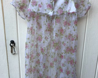 Vintage girl's sheer floral roses and lace robe