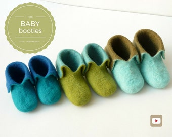Baby Shoes - Wet Felting Video Tutorial/DIY - Personalized Gift for Baby Shower - Instant download