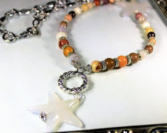 Y necklace, fall colors necklace, orange necklace, star necklace, infinity necklace, beaded necklace, long strand necklace,