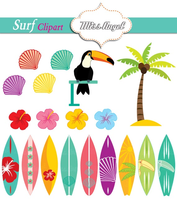 Surfboards Clipart Summer Surfboards Palmtree Toucan