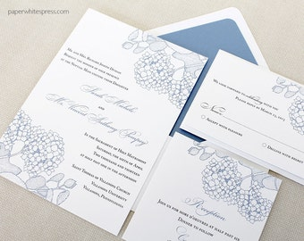 Hydrangea Wedding Invitations, Blue Hydrangea Wedding Invitations, Floral Wedding Invitations, Summer Wedding Invitations, Spring Wedding