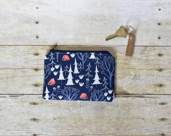 Blue forest pouch - blue coin purse - coin purse - zippered pouch - modern zippered pouch - zipper coin pouch - forest print pouch