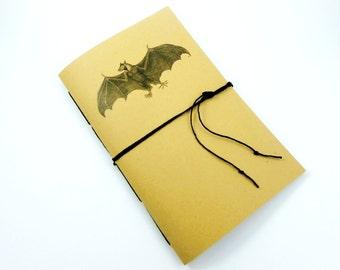 Bat Notebook, Personalized Writing Journal, Graph Paper, Lined, Blank, Music or Dot Grid Notebook, Custom Handbound Bullet Journal