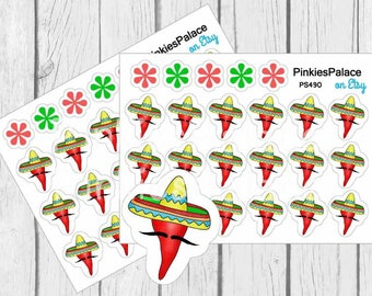 Hot Pepper Stickers Cinco de Mayo Stickers Red Pepper Stickers