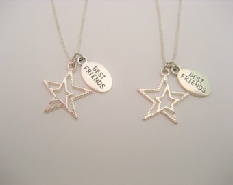 Silver Star Necklace Set, Best Friends Jewelry, Star Jewelry Set, Matching Necklace Set, Matching Star Necklace, Bff Necklace Set