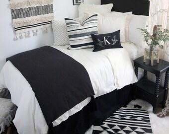 Solid Black Dorm Bed Skirt & Headboard Bundle