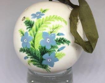 Vintage Morny Ceramic Pomander, White with blue Floral Design