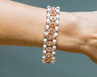 White Rose Gold Rhinestone Bracelet, Rose Gold Crystal, Gemstone Bracelet, White Beaded Bracelet, Love Bracelet, Christmas Gift for Her