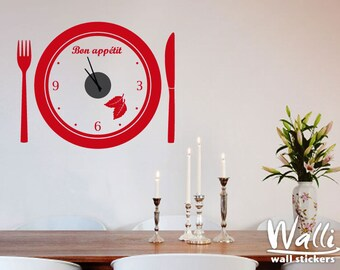Wall Clock Decal Bon Appetit for kitchen decor