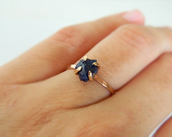 Sapphire Ring, Rose Gold Engagement Ring, Sapphire Gold Necklace, 14K Gold, Sapphire Jewelry, Blue Sappire, September Birthstone