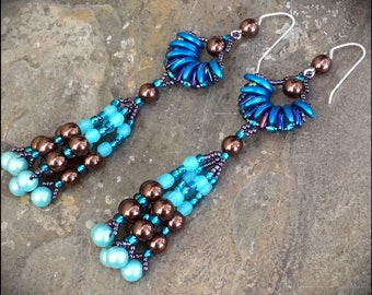 Sea Glass Earrrings - Beaded Blue and aqua fringe earrings by Hannah Rosner - Japanese seed beads and Czech pressed glass beads