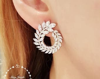 Diamond swirl statement earrings, hoop earrings, leaf earrings, bridal earrings, dressy earrings, Diamond stud earrings, flower earrings