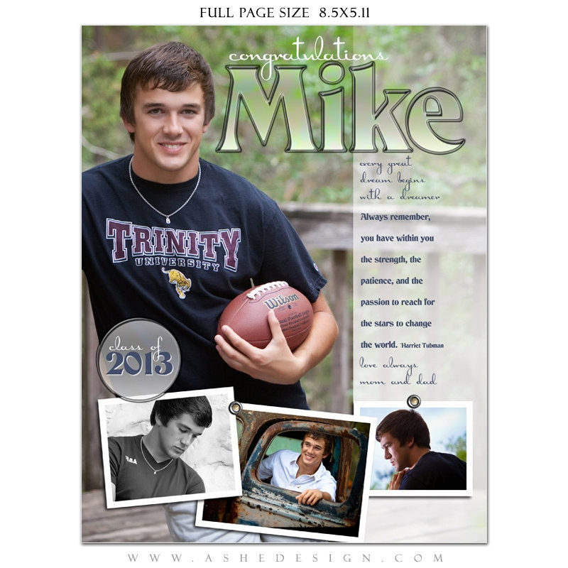 Senior yearbook ads photoshop templates hot shots high for High school football program template