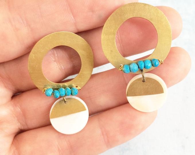 Open circle brass earrings - boho chic stud earrings - geometric earrings - turquoise and mother of pearl - dangle and drop -modern earrings