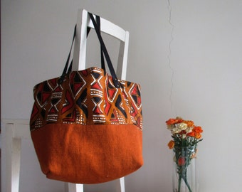 Reversible Slouchy XLTote in Mud Colors with Leather Straps