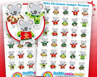 36 Cute Koko the Koala Christmas Jumper Planner Stickers, Filofax, Erin Condren, Happy Planner, Kawaii, Cute Sticker, UK