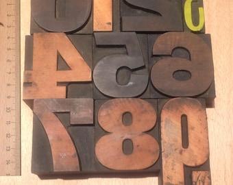 Vintage Wooden Letterpress Numbers 0-9  – mixed font antique (0-9D)