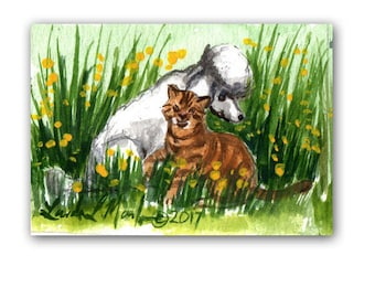 White Poodle Tabby Cat Baby Nursery llmartin Original ACEO New Mom  Watercolor New Mom Free Shipping USA
