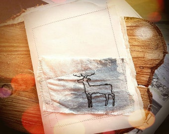 Stitched Deer Book- Handmade Recycled Paper Book- Stitched Recycled Scrap Art Paper and Old Books Notebook Miniature with Handstitched Stag