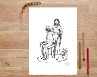 Couple Art, Pencil Illustration, depressed, Pencil Art, Anniversary Gift, Modern Art, Anxiety Awareness, Love Art, Love Print, In love art