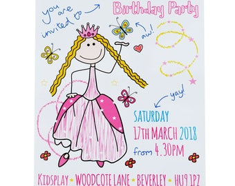 PERSONALISED 'Print your own' Princess/Fairy Party Invites