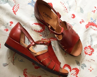 Vintage 70s Sandals Deadstock Burgundy