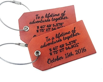 Leather Luggage Tag, Personalized Wedding Gift, For Wife Husband Boyfriend, Leather 3rd Anniversary Gift, Baggage Tags, Id Tag, Travel Tag