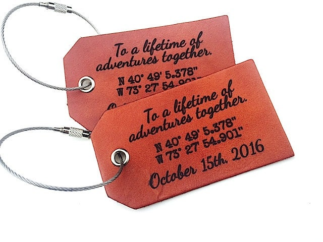 Personalized Luggage Tags Wedding Gift: Leather Luggage Tag Personalized Wedding Gift For Wife