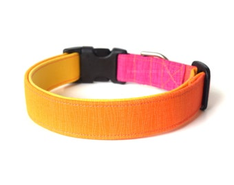 Ombre Dog Collar, Yellow Orange Pink, Designer Dog Accessory, Colorful Collar, Pet Accessory, Modern Dog Collar, Adjustable Dog Collar
