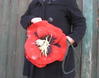 """Poppy, bag, felt bag, flower bag, Poppy bag, spring, wool, 38 cm, red, green, 15 """""""