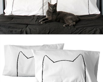 Cat Lover Gift Bed Pillow Case Set Wedding pet mom couples room decor funny womens mens pillowcase for her him husband wife  anniversary