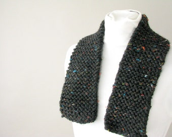 Unisex Charcoal Chunky Tweed City Scarf - Handknit Scarflette