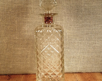 Vintage Glass Liquor Decanter With Glass Stopper