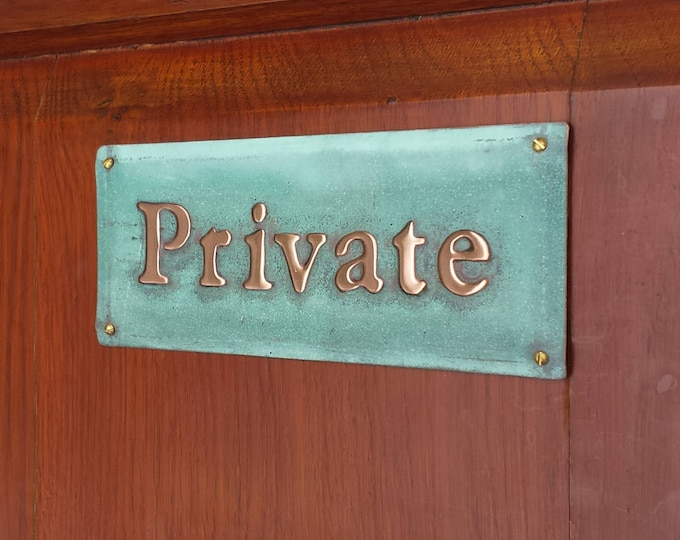 "Private notice sign Plaque in 1""/25mm high Garamond in polished and patinated copper sheet with fixings g"