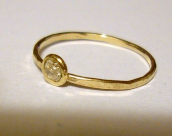 Ring Moissanite Solid gold Yellow, White or Rose - or available in silver,modern Minimal Ethical Custom made in USA by me Engagement 3mm