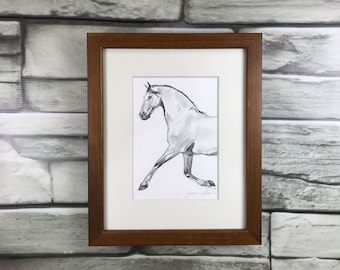 "Horse art original - ""Float"" - framed graphite drawing"