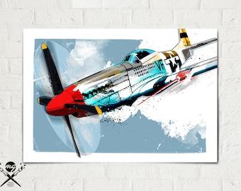 Airplane - P-51 Mustang - Airplane Print, WWII vintage airplane, Military Gift, Airplane Art, Aviation, Airplane Nursery, Pilot gift