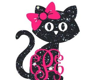 Cat Monogram Decal - Kitty Cat Decal - Cat Mom - Cat Lover - Cat Monogram - Monogram Yeti Decal - Car Decal - Custom Decal - Yeti Cat