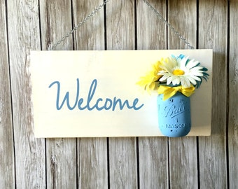 DIY Craft Kit - Summer Welcome Sign with Mason Jar Vase  Create your own - Welcome Mason Jar Sign Flowers - Welcome Sign - Front Door Decor