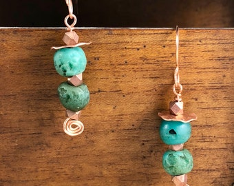 """TURQUOISE STONE & COPPER Earrings, 2 1/4""""L, Handcrafted, One-of-a-Kind, Lightweight, Handcrafted Copper Hypoallergenic Ear Wires. Boho Style"""