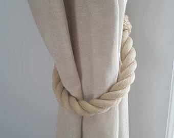 Extra Thick Beige Hemp Rope Curtain Tiebacks / chunky ties /shabby chic tiebacks/ rustic ties/ curtain holdbacks/nautical tie-backs