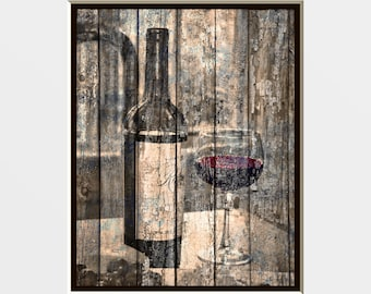 Rustic Wine Bottle Glass Decor, Rustic Brown Red Home Decor Wall Art Matted Picture