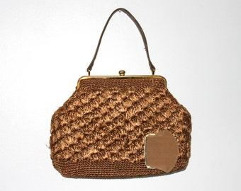 Vintage raffia bag, raffia purse, vintage handbag, vintage purse, vintage bag, raffia handbag, brown bag, woven bag, straw bag, summer purse