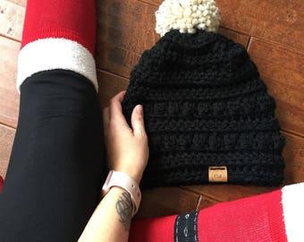 Black Crochet beanie with pom pom - winter hat - cozy beanie - fall accessories - hand crocheted