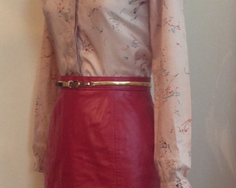 Sassy Vintage 1980s Red Leather Mini Skirt/80s/80's/1980's