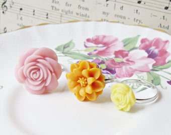 Girl's Ring Set Jewelry - Flower Jewellery Botanical Children Pink Orange Yellow - Spring Pastel Girls Party Favour Floral Bonbonniere