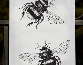 Bee Tea Towel- Bumble Bee - Gift For Kitchen or Cook - Screenprint - Illustration