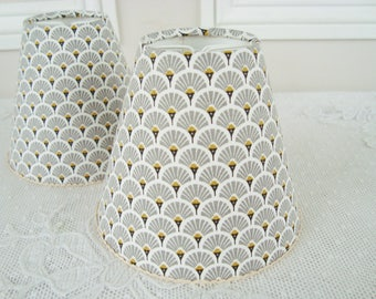 Fabric lampshade etsy art deco fabric lampshade fans 43 x 51 ins for wall light sconce or ceiling chandelier handmade lampshade 1930s style lamp shade aloadofball Images
